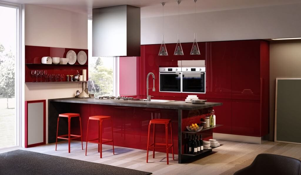 Red Kitchen For Modern Interiors