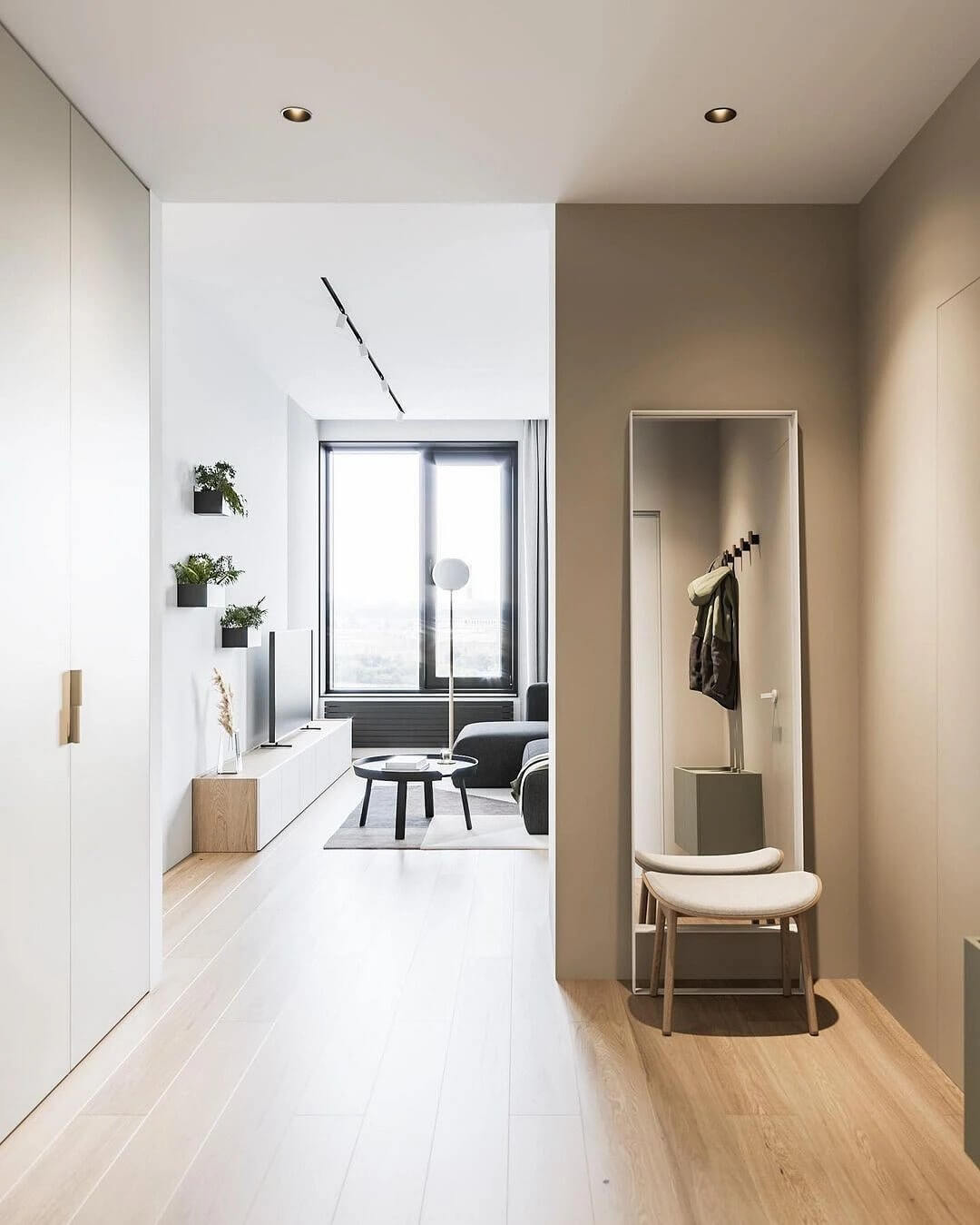 20. An interior built on minimalism in shades and details