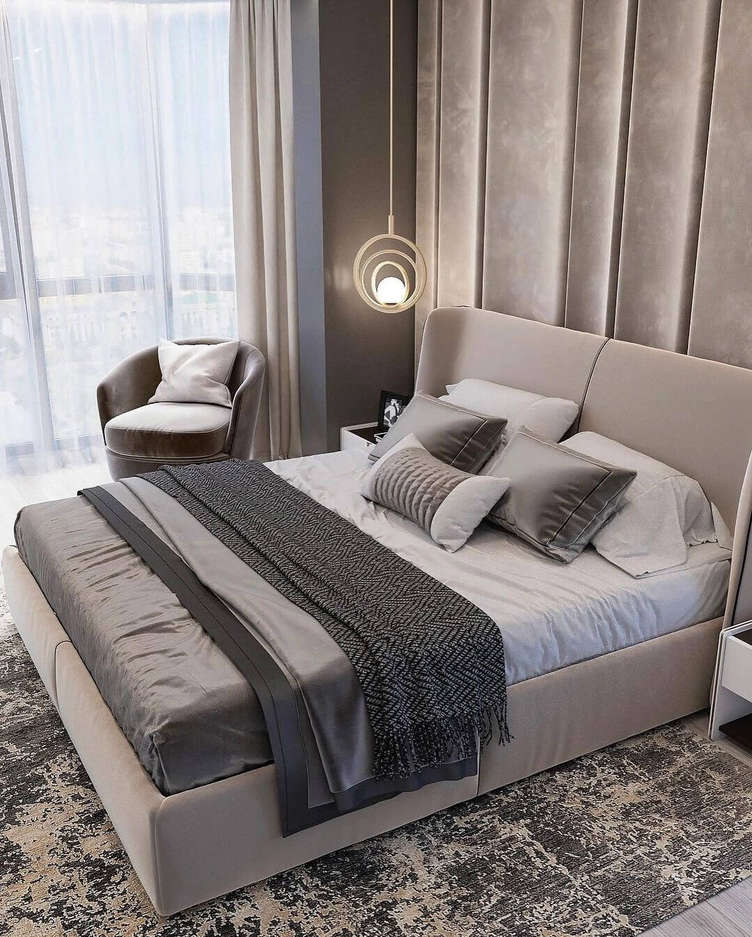 Interior in creamy shades with sophisticated textiles