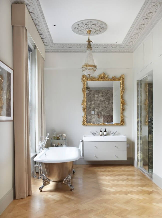 Cast iron bathtub is perfect for a classic style interior