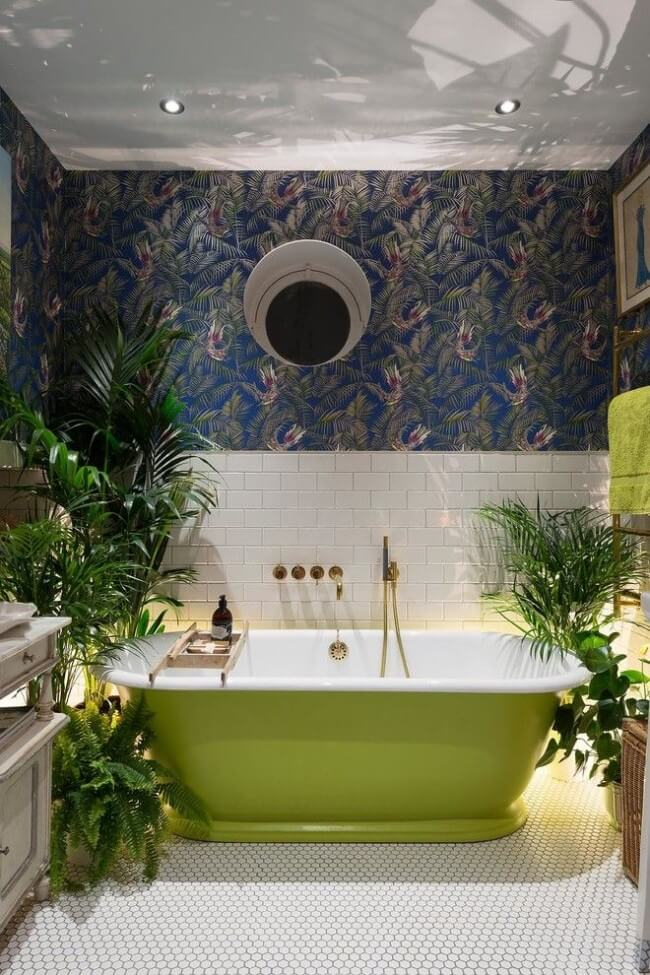 Interesting interior of a hygienic room with a cast-iron bathtub
