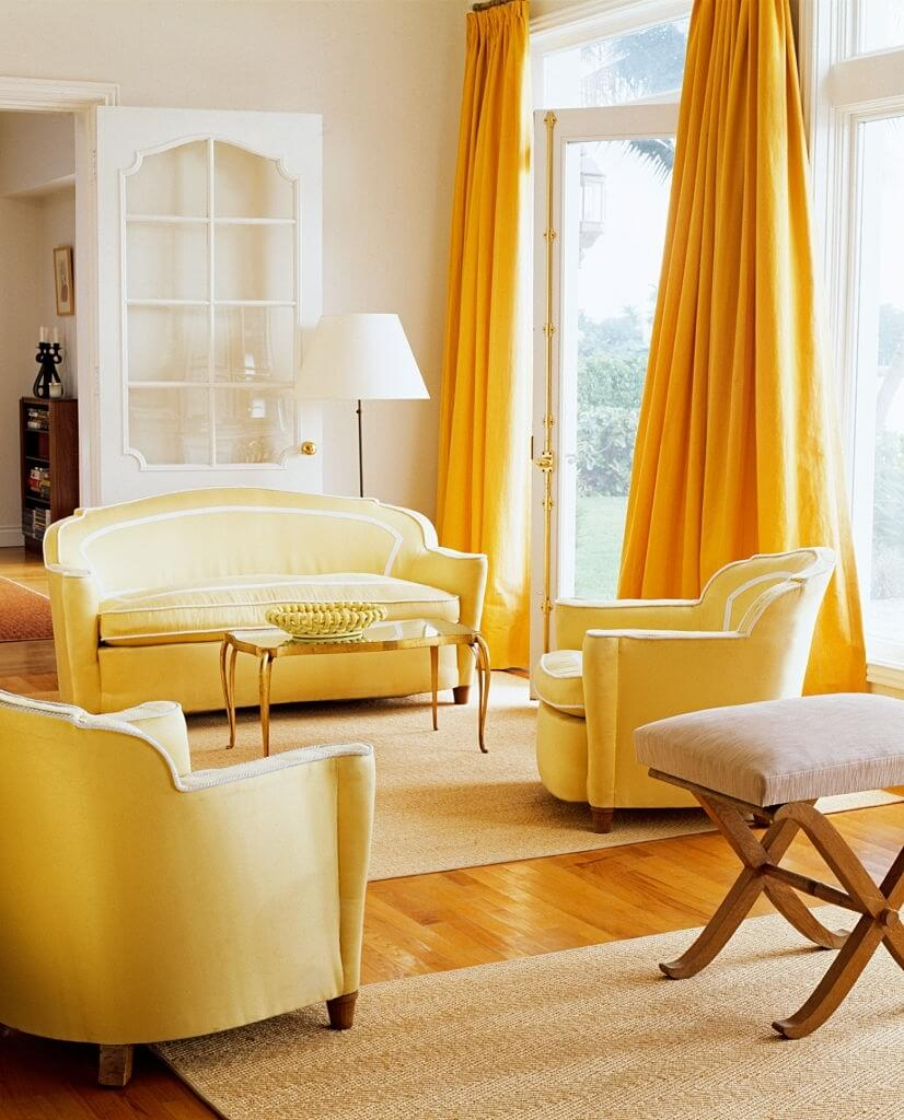 Living Room Yellow Curtains