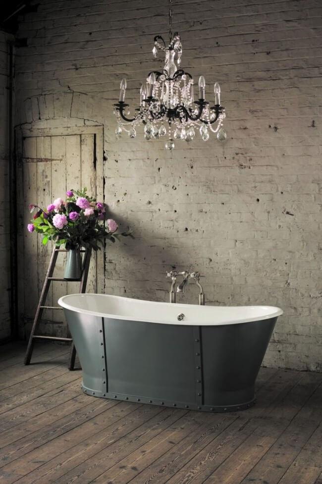 Luxurious cast iron bathtub in a stylish interior
