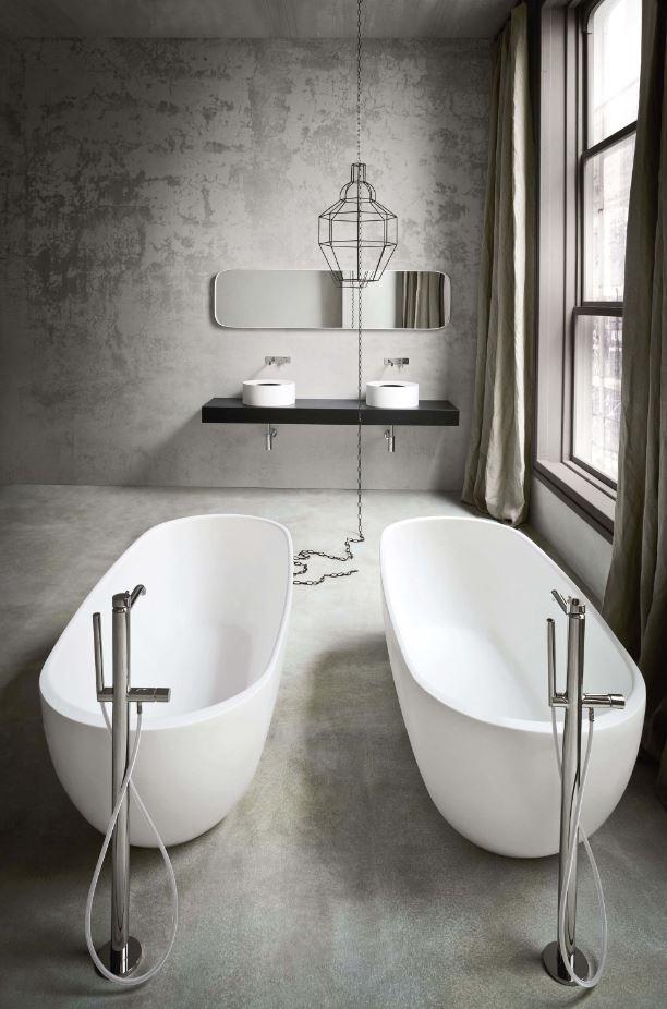 Twin acrylic bathtub