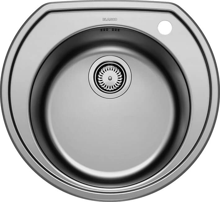 3. Flush-mounted kitchen sink 53.5 cm Blanco Rondoval brushed steel