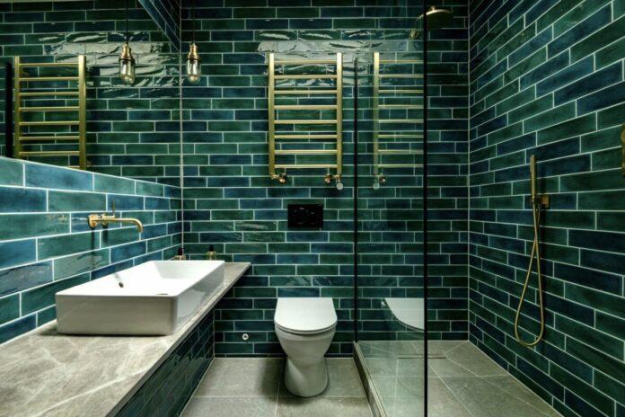 Bottle Green Coloured Bathroom