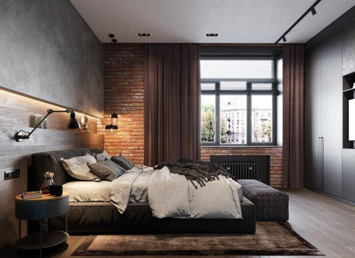 Industrial Bedroom Design In A Loft Bedroom