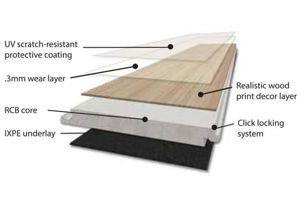 Quartz vinyl tile layers