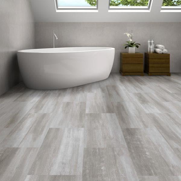 Quartz vinyl tiles in the bathroom.