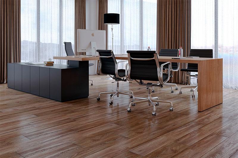 Quartz vinyl tiles in the office.