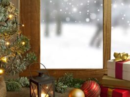 festive window and sill decorations